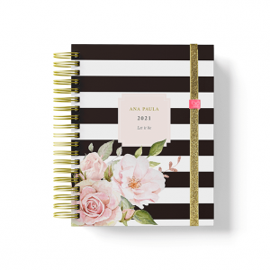 Mini planner black strape floral